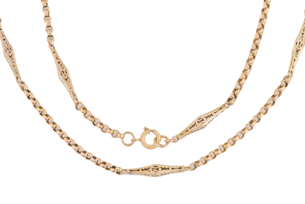 "Victorian 12ct Gold Fancy Pierced Belcher Chain, 20"" (8g)"