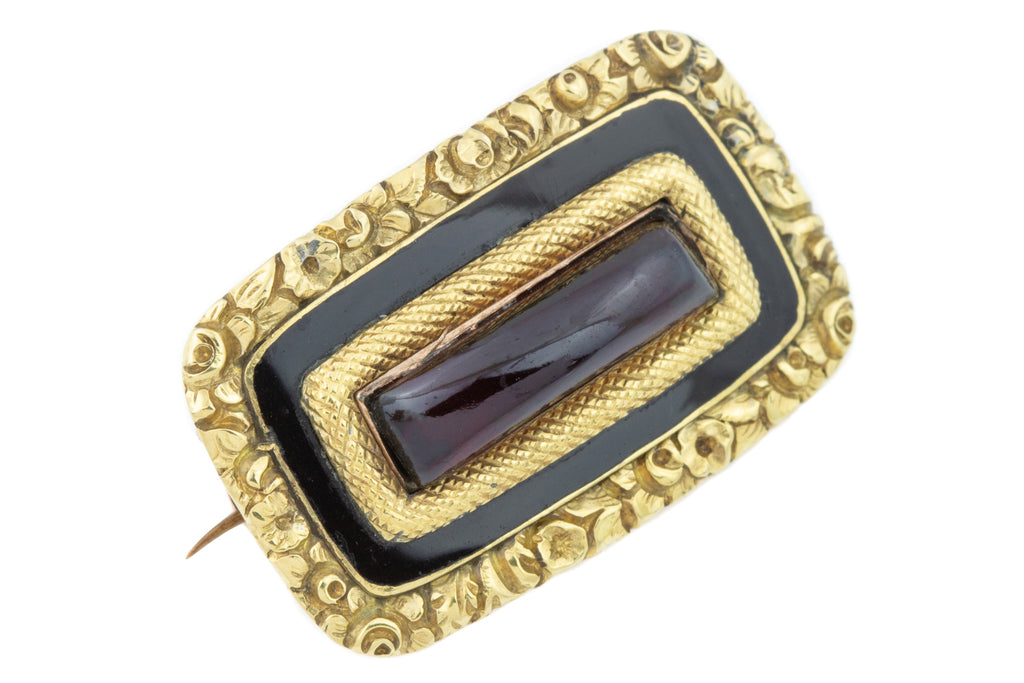 Antique Garnet and Black Enamel Brooch in 14ct Gold