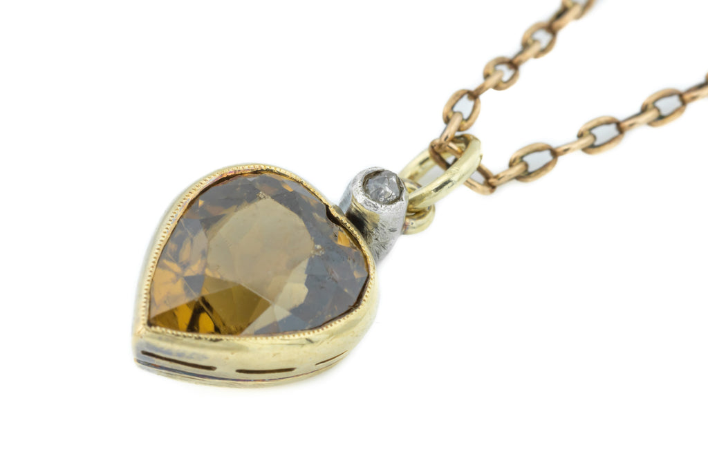 Antique Citrine and Diamond Heart Pendant with Antique Gold Chain