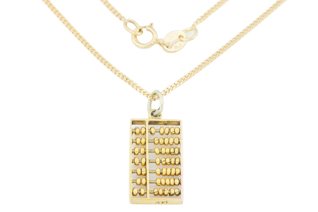 14ct Gold Abacus Charm Pendant with 9ct Gold Chain