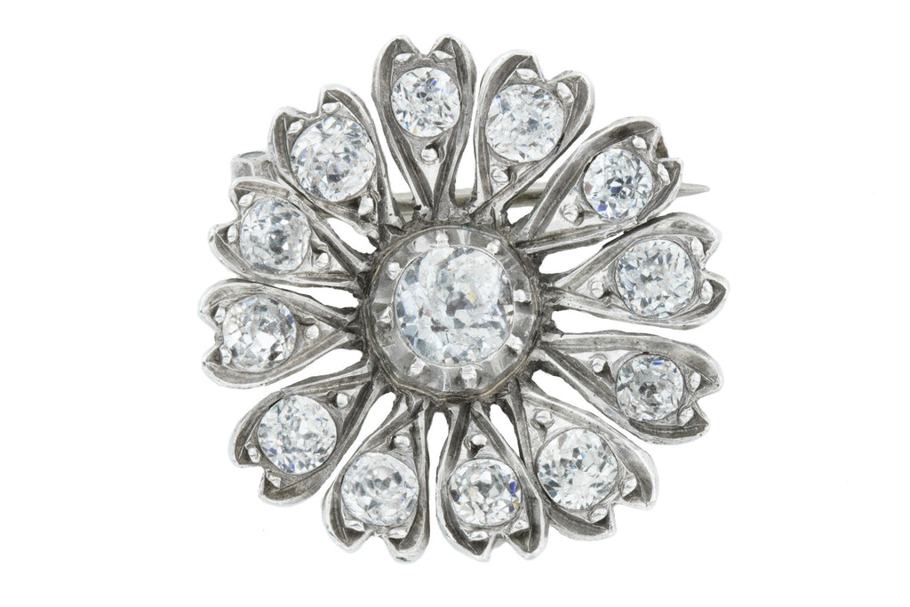 Antique Silver Paste Flower Brooch c.1890
