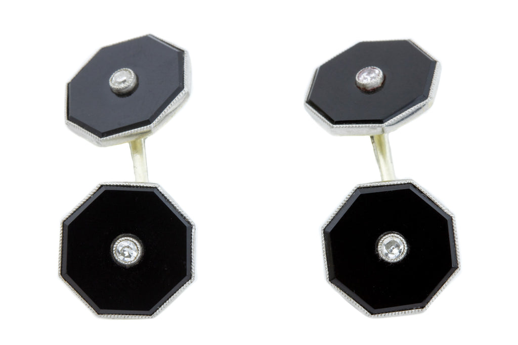 Art Deco Onyx and Diamond Cufflinks