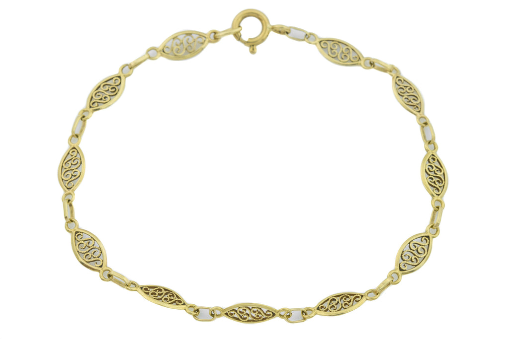 "Art Nouveau 9ct Gold Filigree Bracelet, 8"" (2.7g)"