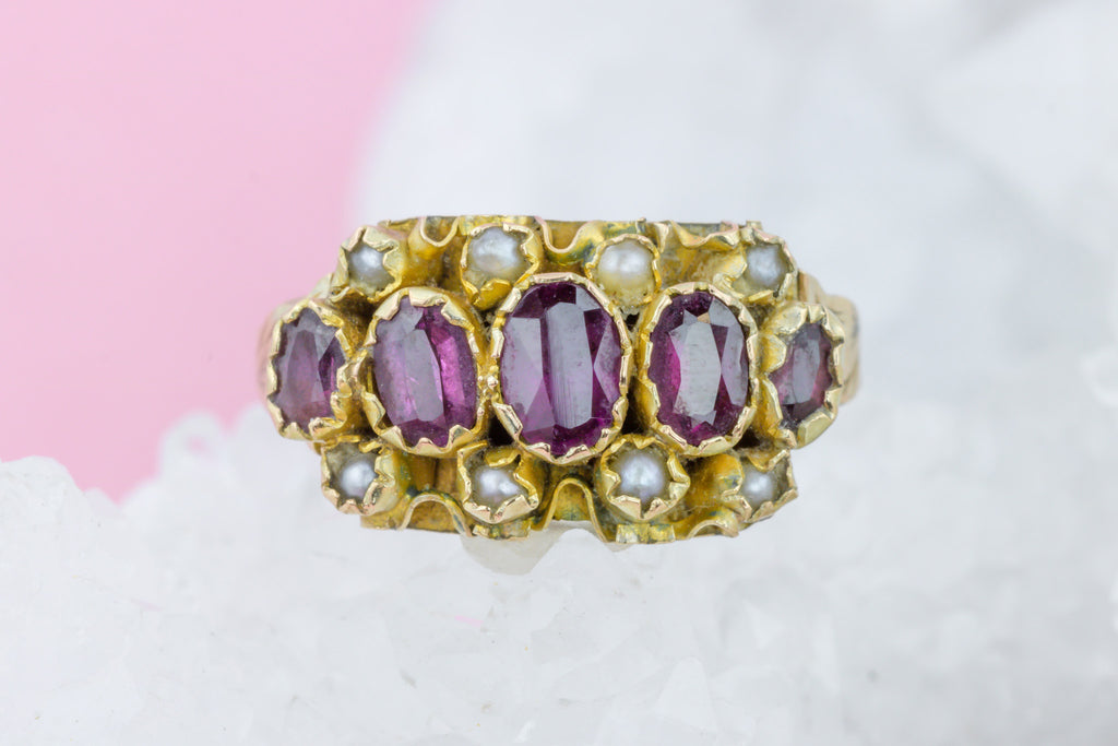 Victorian Five Stone Garnet and Pearl Ring c.1886