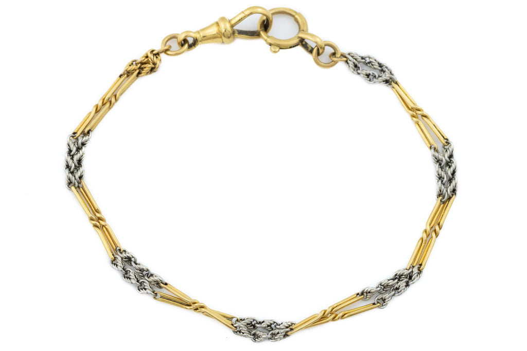"Antique 18ct Gold Bracelet, with 14ct White Gold Details, 8"" (9.7g)"