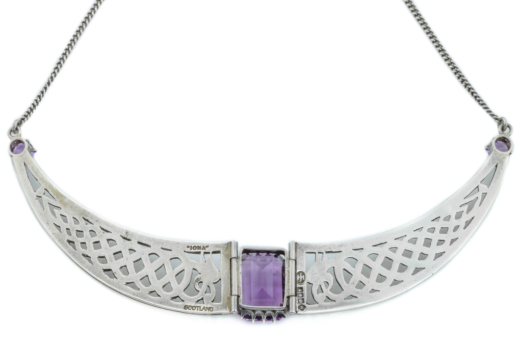 Scottish Iona Silver Amethyst Collar Necklace - Celtic Silver Necklace