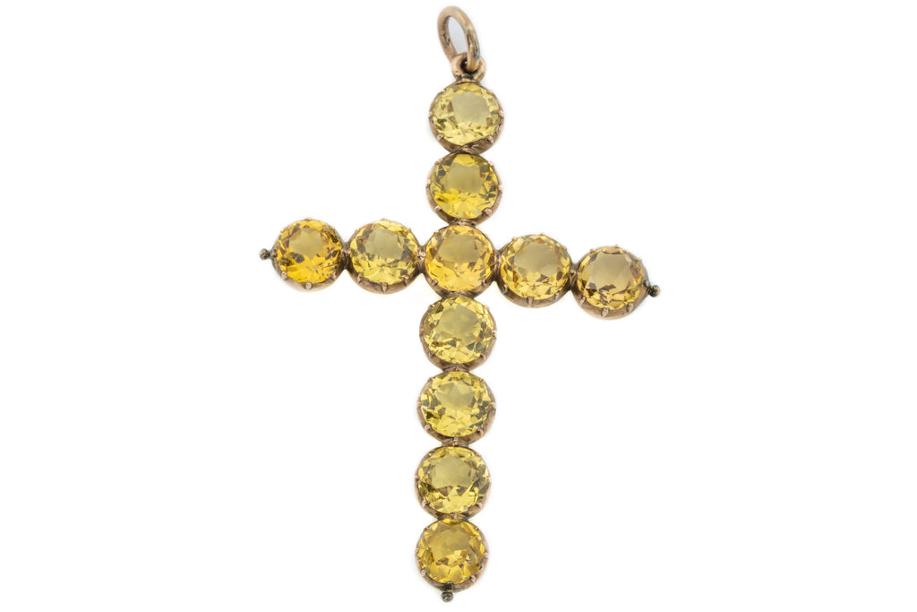 Georgian 15ct Gold Topaz Cross Pendant (16.83ct)