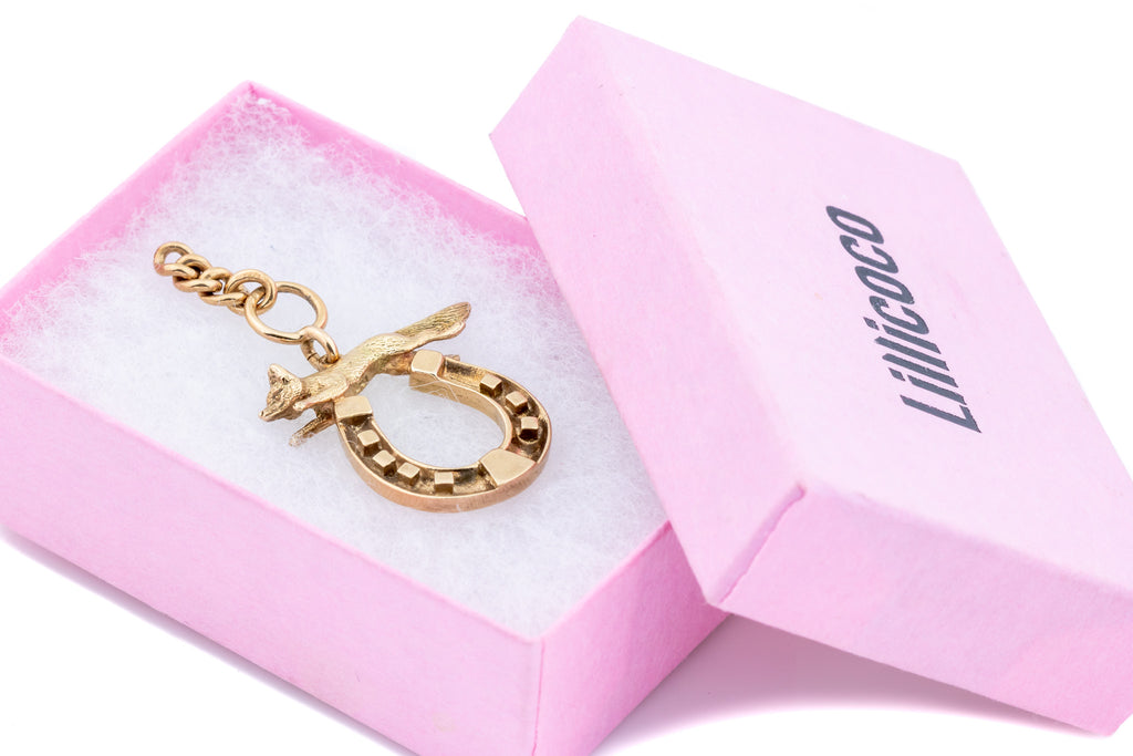 9ct Rose Gold Victorian Fox and Horseshoe Charm Pendant