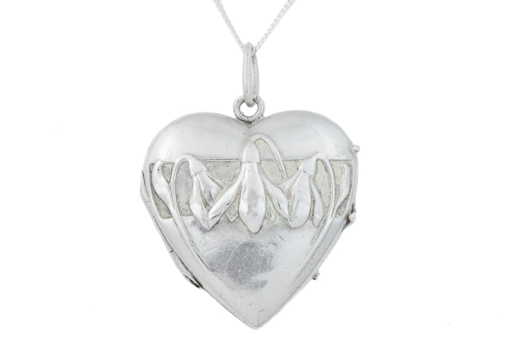 Antique Silver Heart Locket with Repousse Flowers
