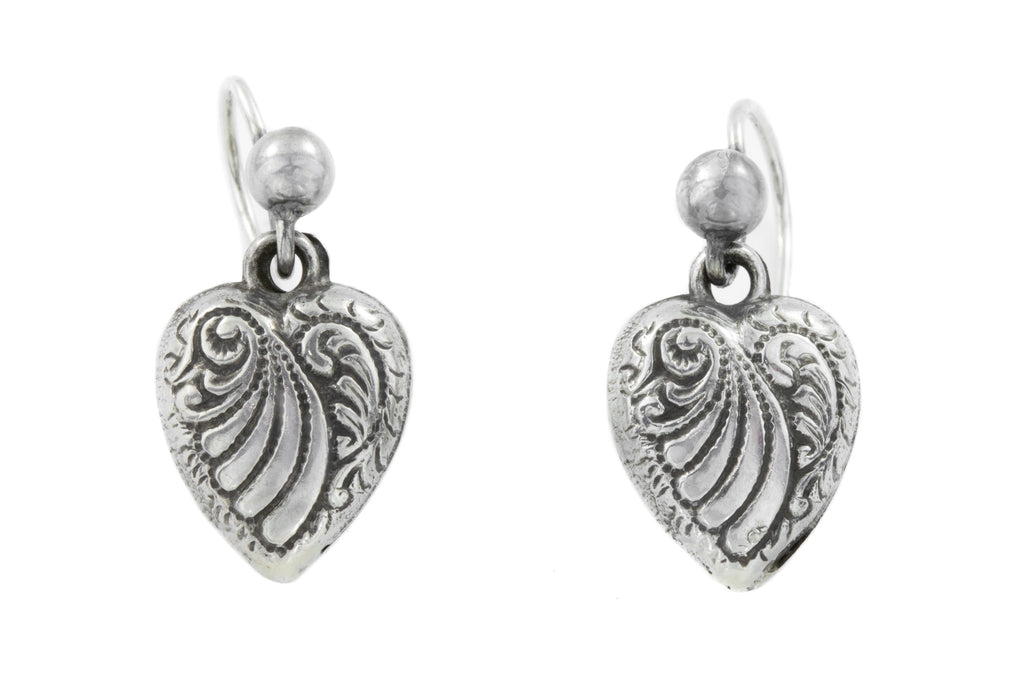 Victorian Silver Heart Drop Earrings