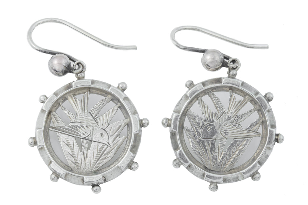 Victorian Aesthetic Silver Disc Earrings with Swallow Motif