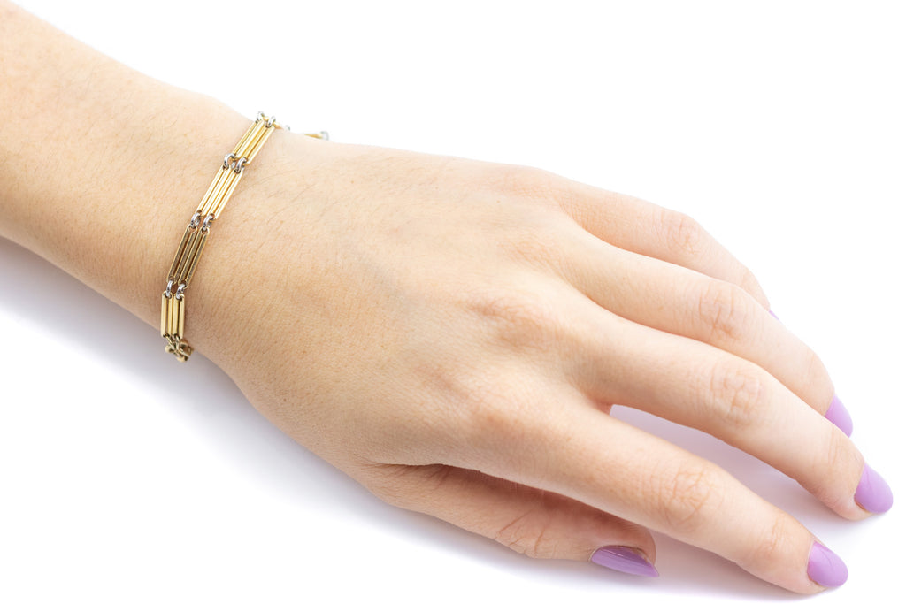 "Victorian 18ct Gold Albert Chain Bracelet with T-bar, 8"" (17.5g)"