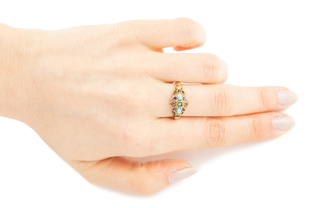 Victorian 15ct Gold Multi-Gemstone Ring