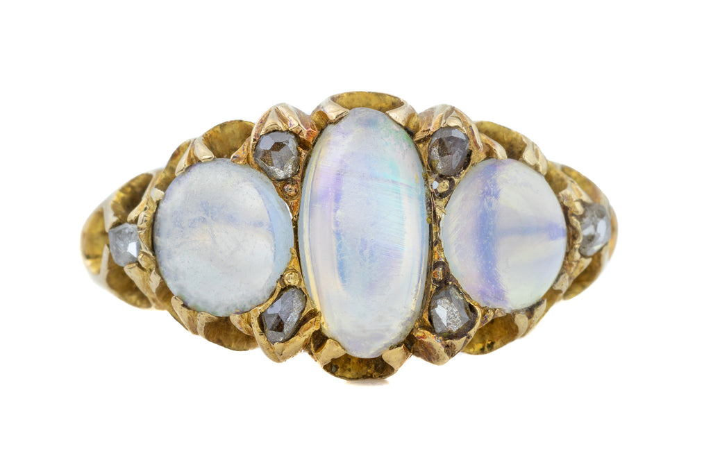 Antique Opal Trilogy Ring with Diamond Spacers c.1867
