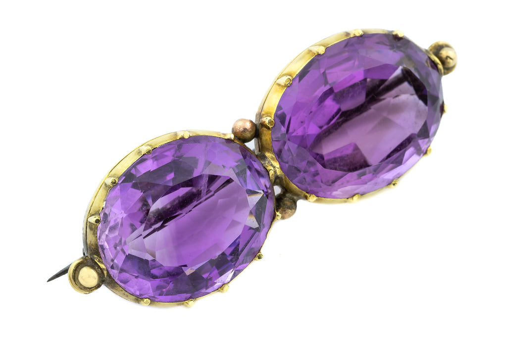 Double Amethyst Antique Brooch in 14ct Gold 17.6g