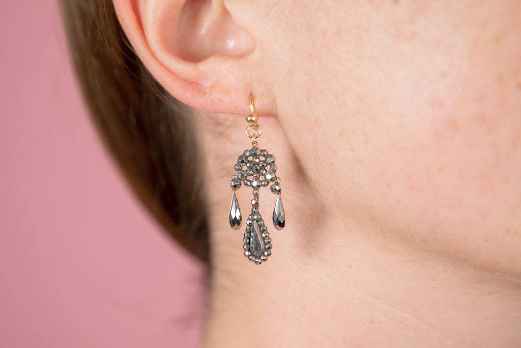 Georgian Delicate Cut Steel Girandole Earrings