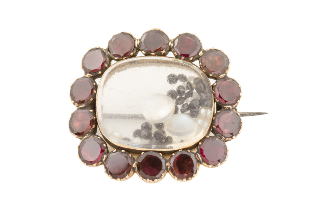 Georgian 14ct Gold Garnet Locket Brooch