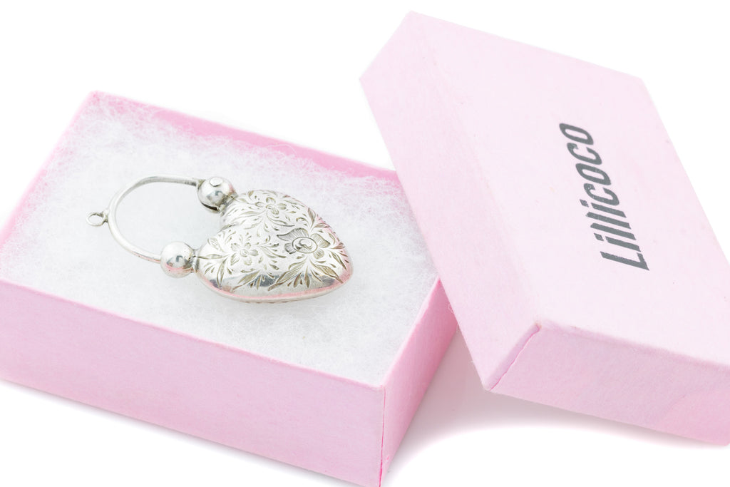 Antique Silver Heart Padlock Pendant