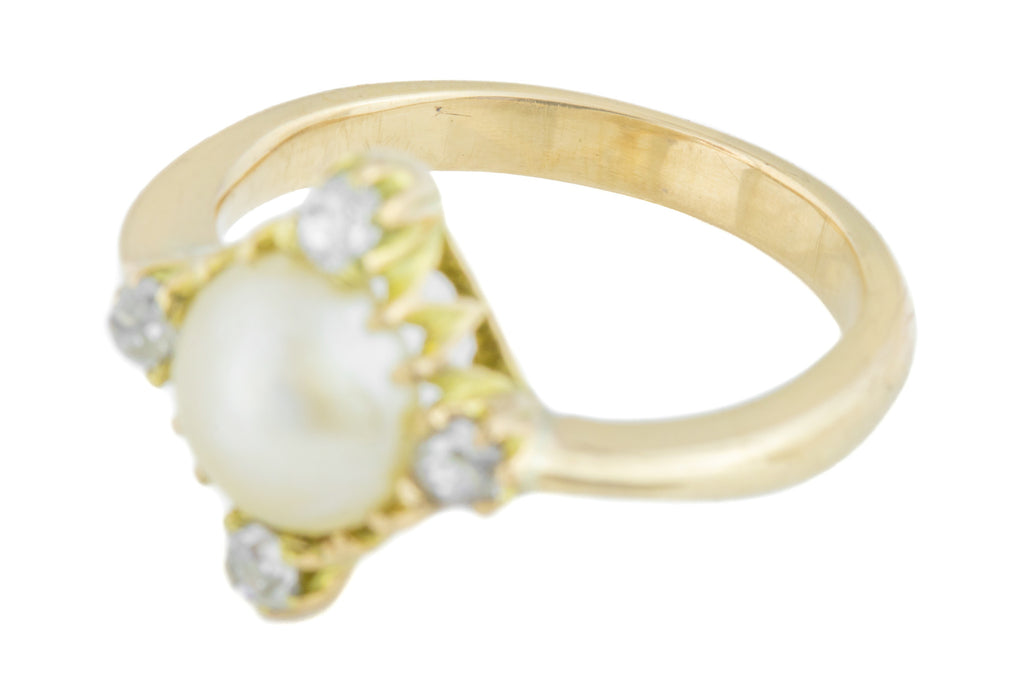 Antique Pearl and Diamond Cluster Ring
