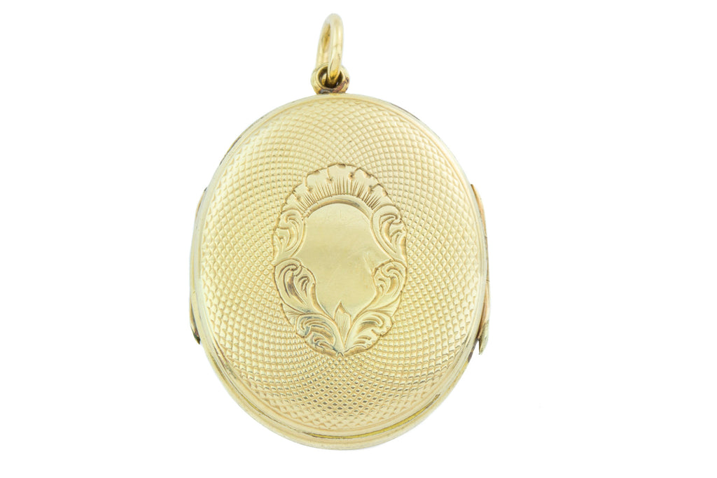 Victorian Gold Oval Locket, with Buckle Motif