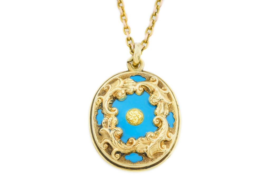 14ct Gold Georgian Enamel Locket with Woven Hair and Chain