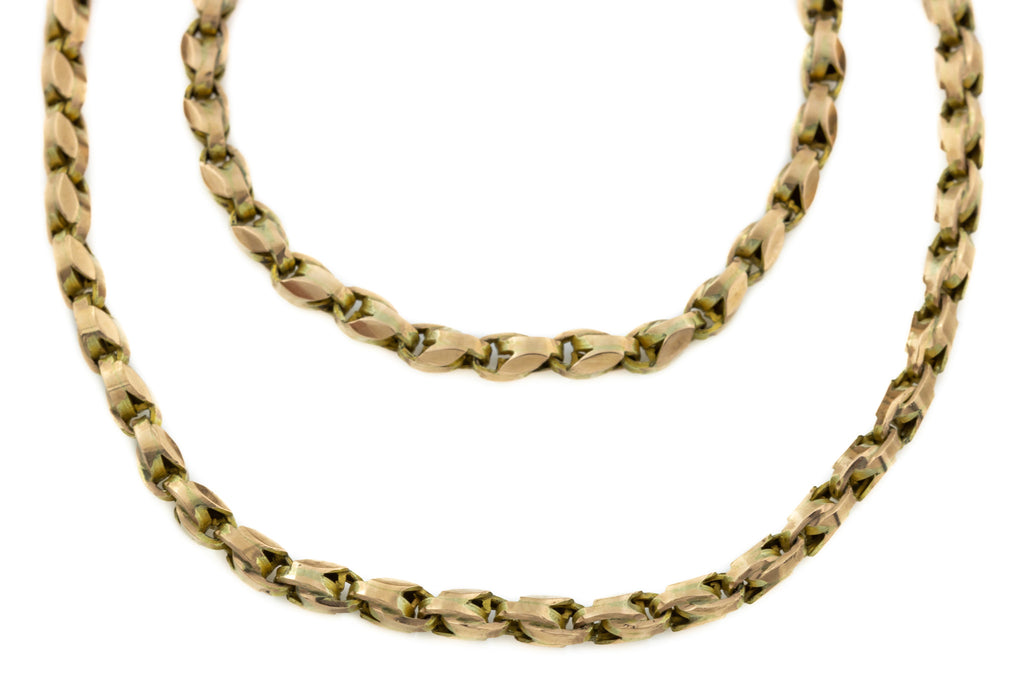 "Antique Gold Dog Tooth Long Guard Chain, 56"" (30g)"
