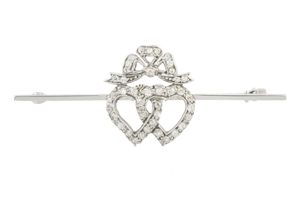 Edwardian White Gold Diamond Heart Brooch, (0.57ct)