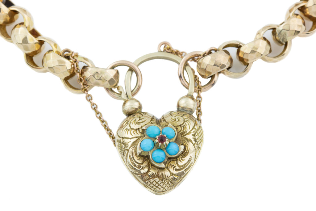 Antique 9ct Gold Bracelet with Heart Charm Locket