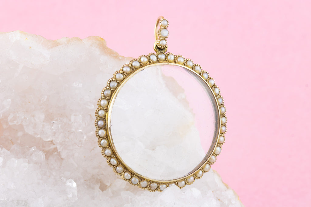 Antique 9ct Gold Pearl Locket