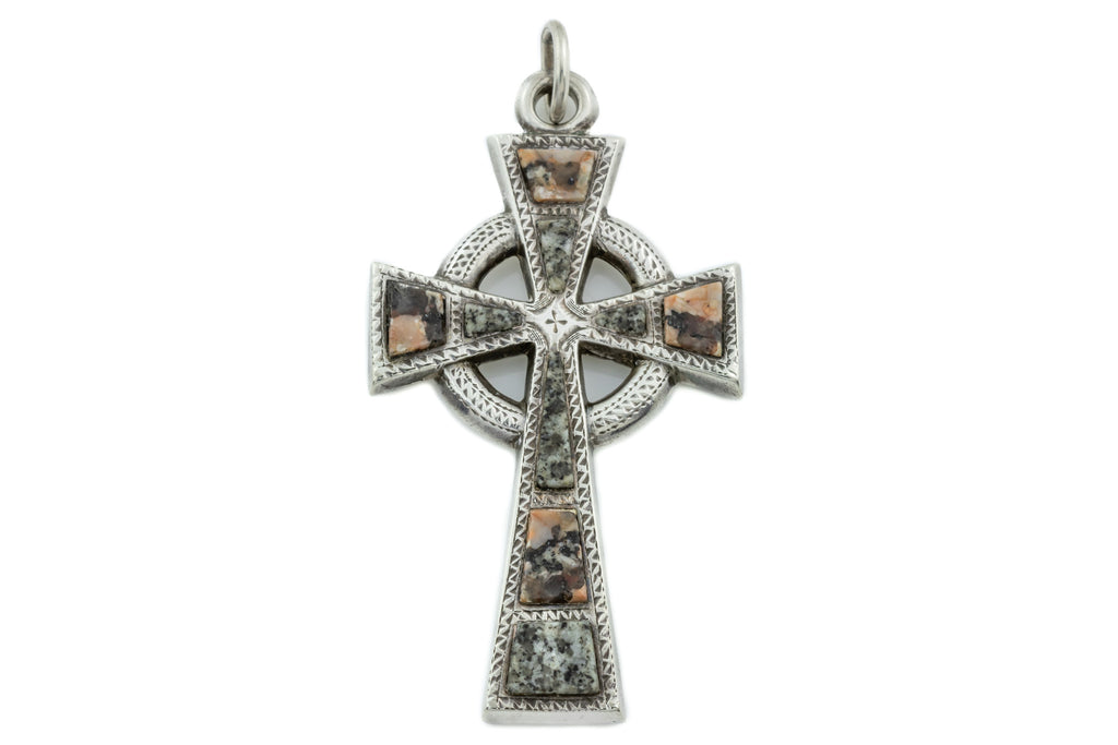 Antique Scottish Agate Silver Cross Pendant