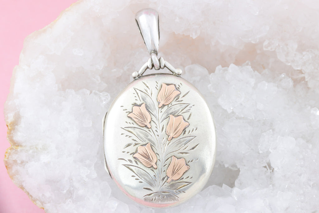 Victorian Silver Flower Locket with Rose Gold Details