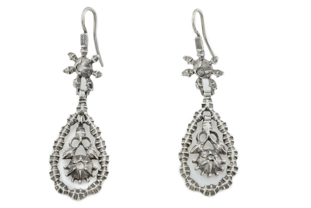 French Antique Silver Paste Drop Earrings