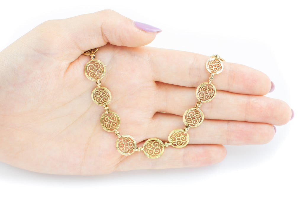 "Antique 18ct Gold French Filigree Necklace, 15"" (16g)"