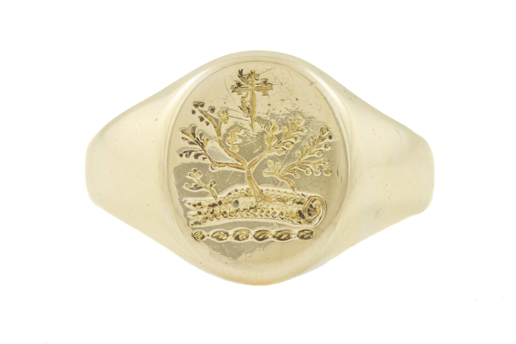 Antique 14ct Gold Tree of Life Signet Ring