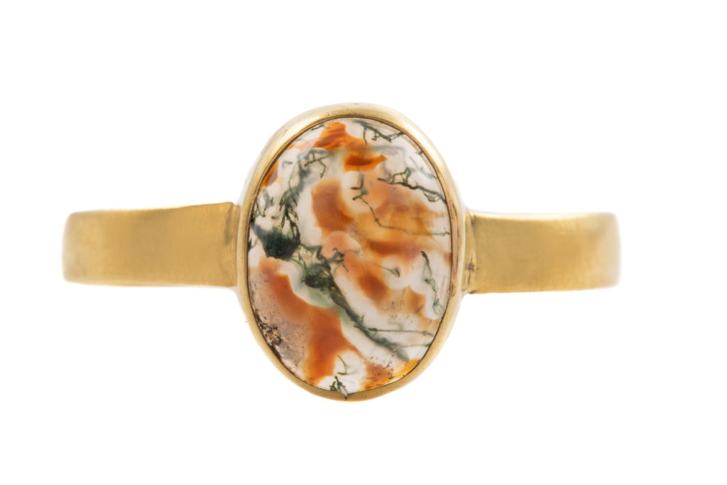 Antique 18ct Gold Moss Agate Ring