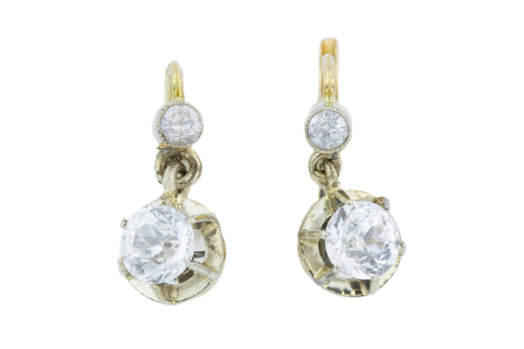 Antique 18ct Gold French Rock Crystal Dormeuse Earrings