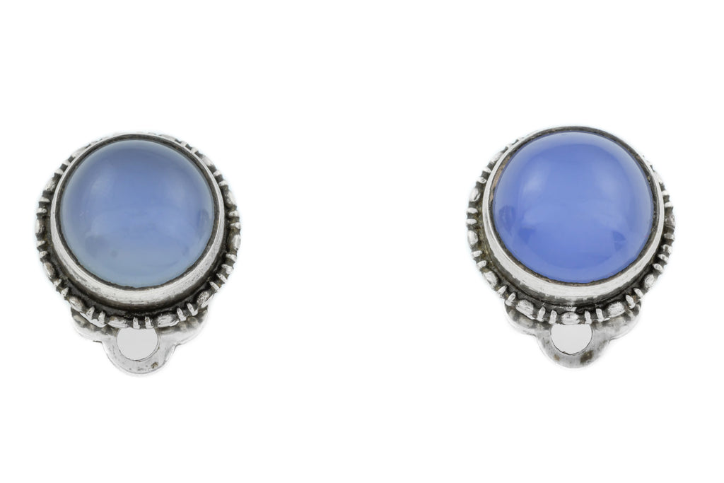 Antique Silver Blue Chalcedony Clip-On Earrings