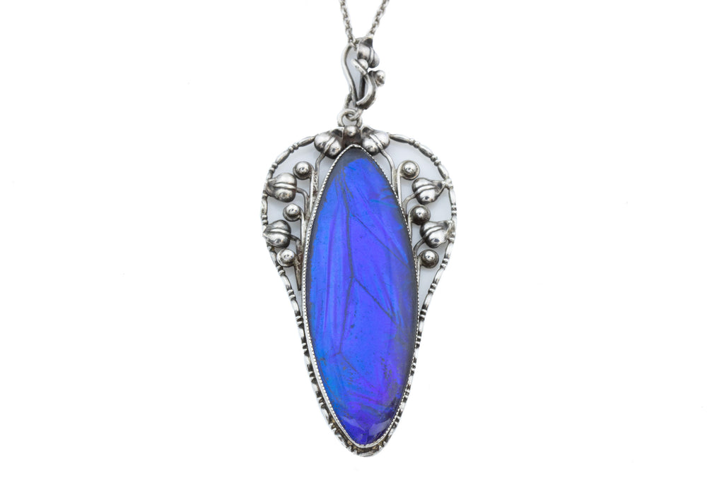 "Art Nouveau Butterfly Wing Pendant, with 17"" Chain"