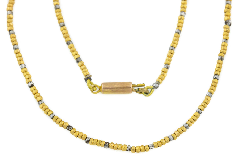 Georgian Cut Steel Gold Beaded Necklace