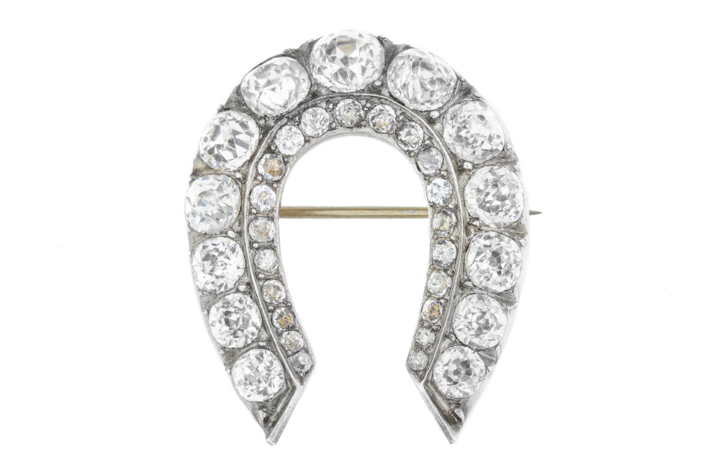 Victorian Paste Horseshoe Brooch