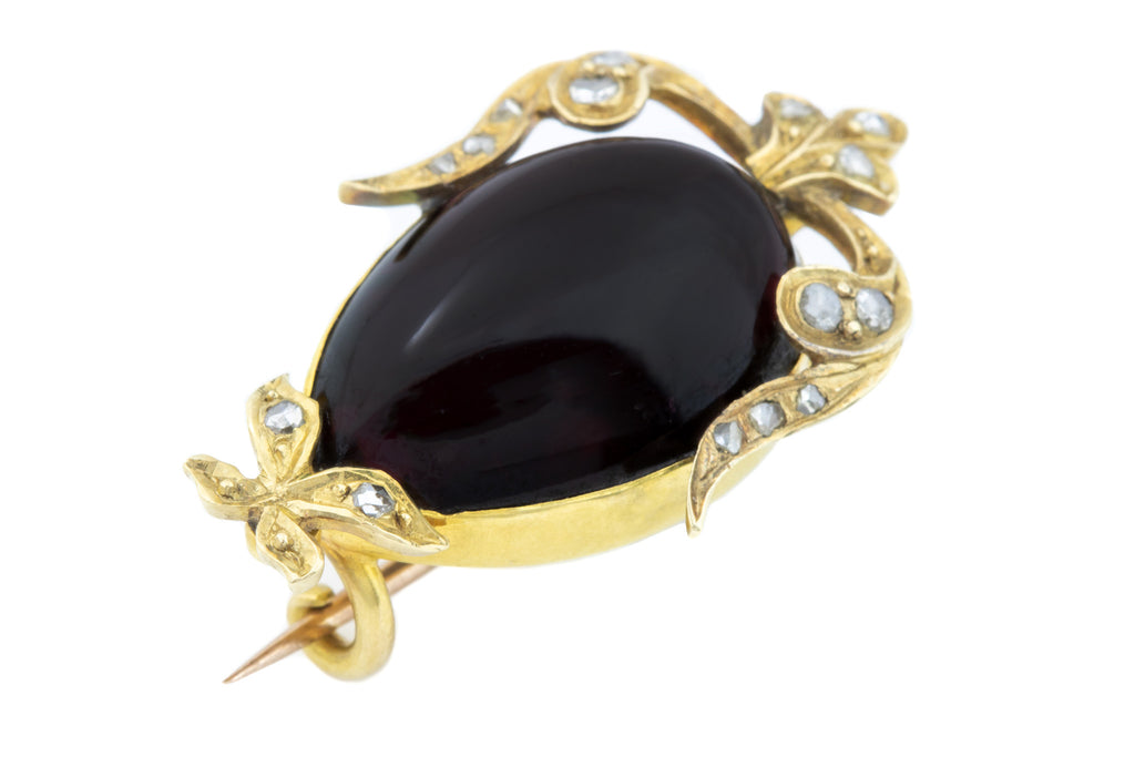 Antique Garnet and Diamond Mourning Brooch in 18ct Gold