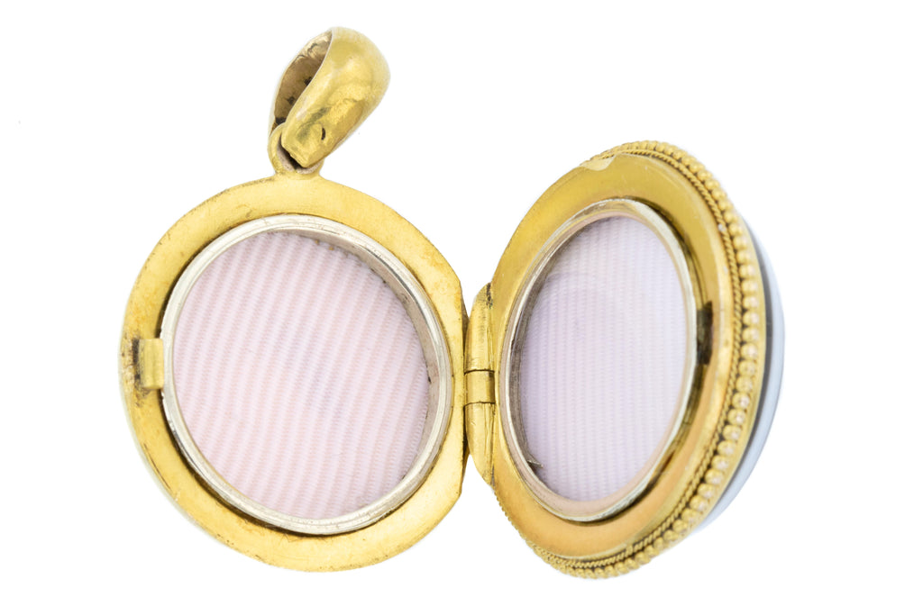 Antique 18ct Gold Banded Agate Locket c.1860