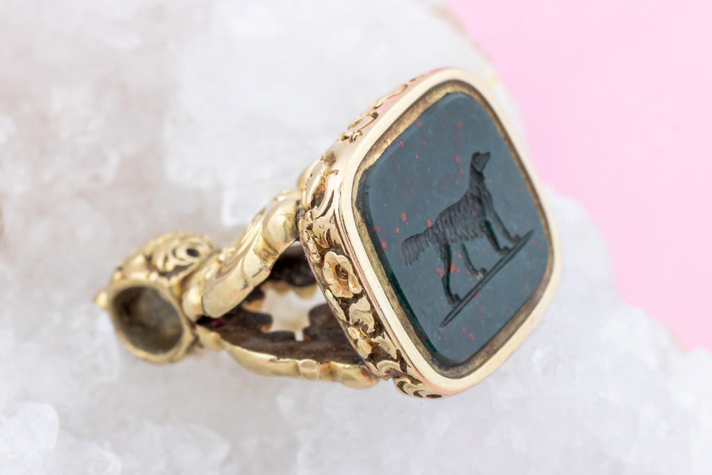 Antique 15ct Gold Bloodstone Fob Pendant with Dog Intaglio