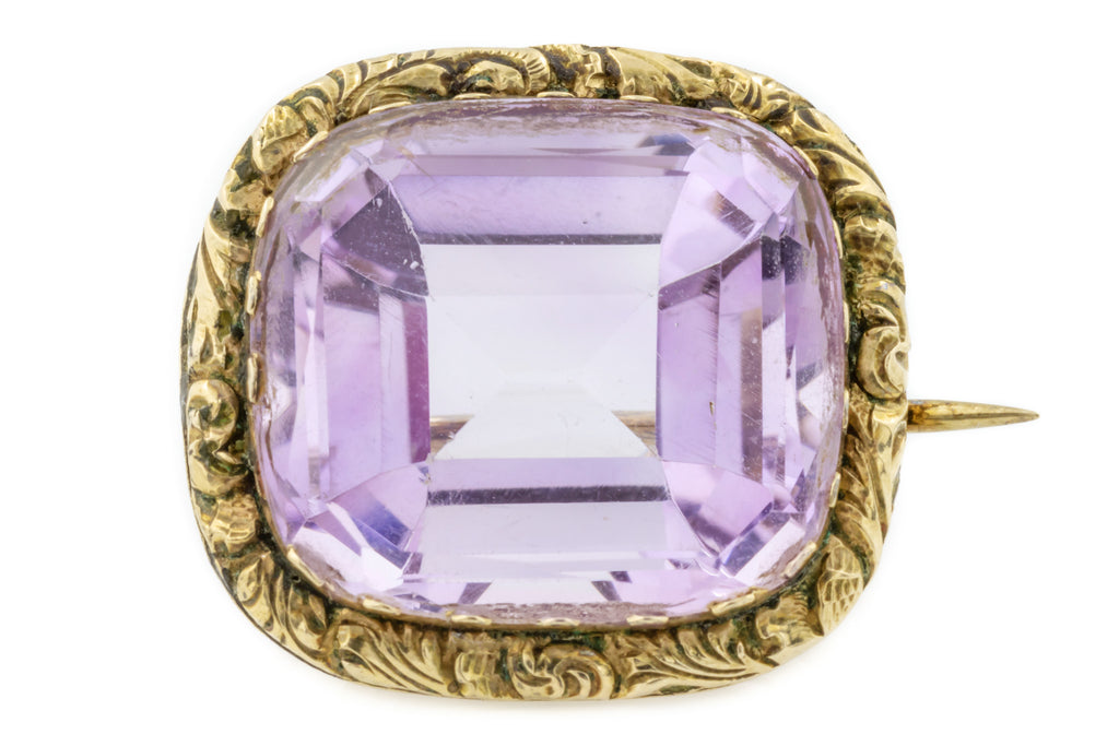 Georgian 15ct Gold Amethyst Brooch (12.22ct)