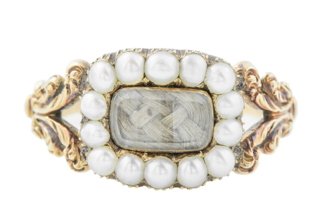 Georgian Pearl Mourning Ring with Blonde Woven Hair
