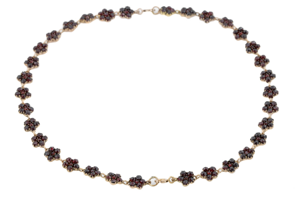 Antique Garnet Bracelet / Necklace Set with Flower Clusters