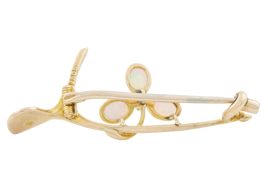 15ct Gold Antique Wishbone Brooch with Opal and Ruby Shamrock