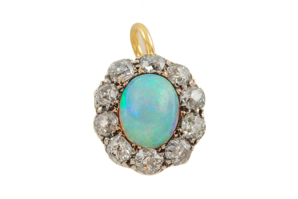 Victorian 18ct Gold Opal Diamond Cluster Pendant