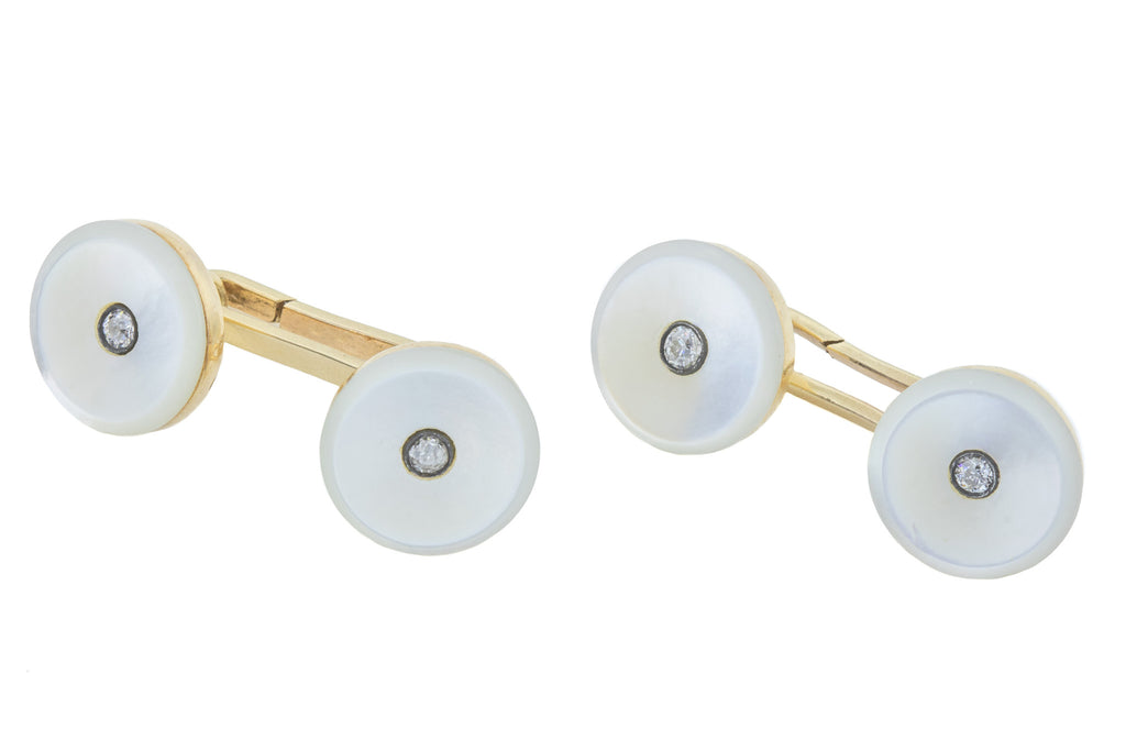 Art Deco Mother of Pearl and Diamond Cufflinks