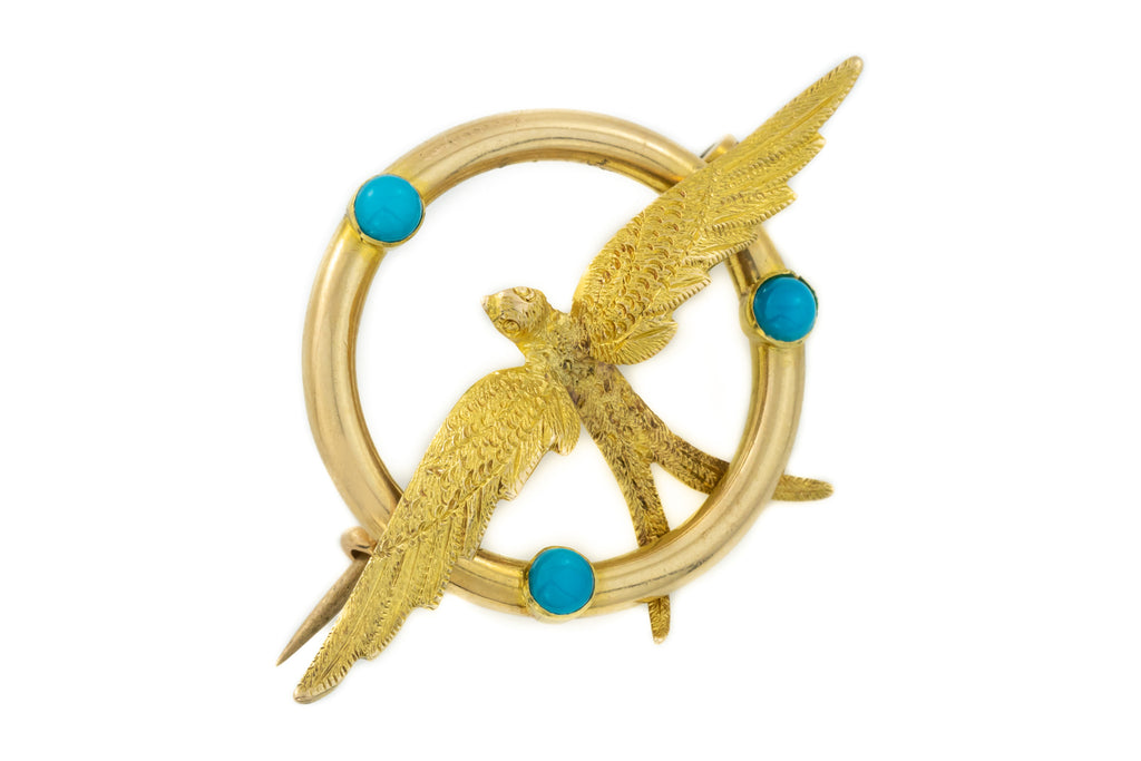 Antique 15ct Gold Bird Brooch with Turquoise Cabochons